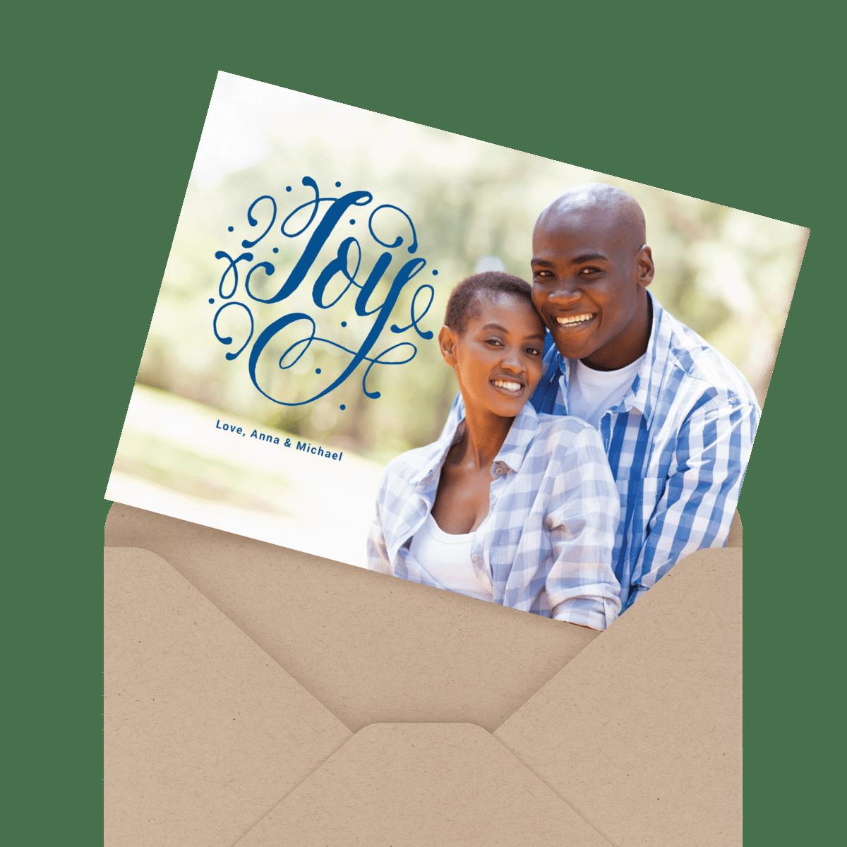 red joy peace love holiday card
