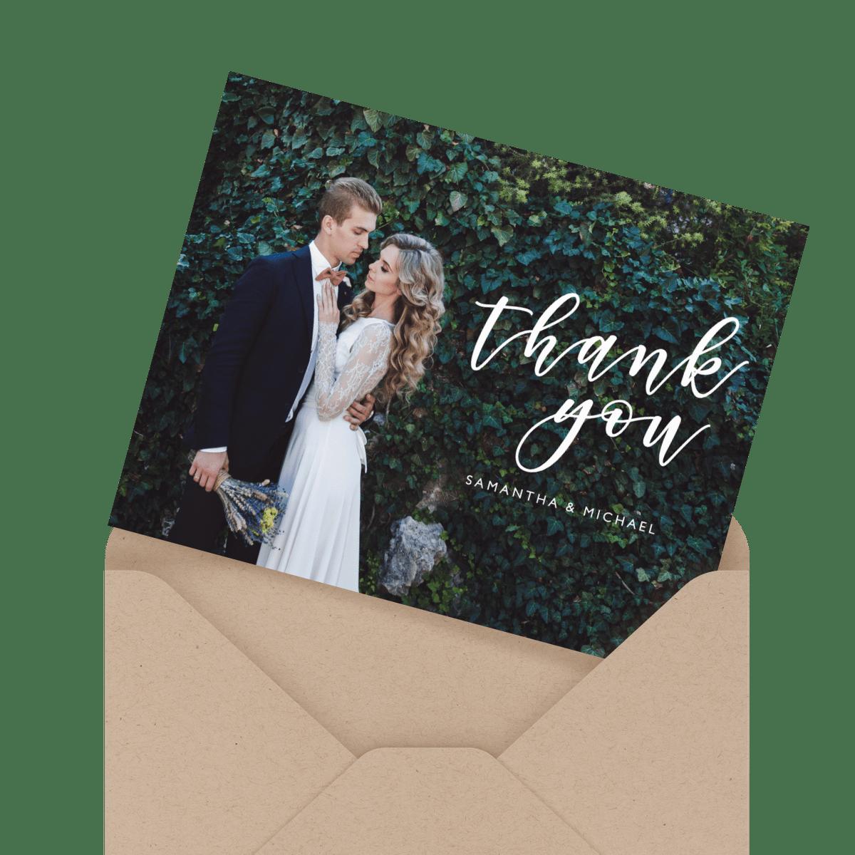 beautiful floral script wedding thank you card