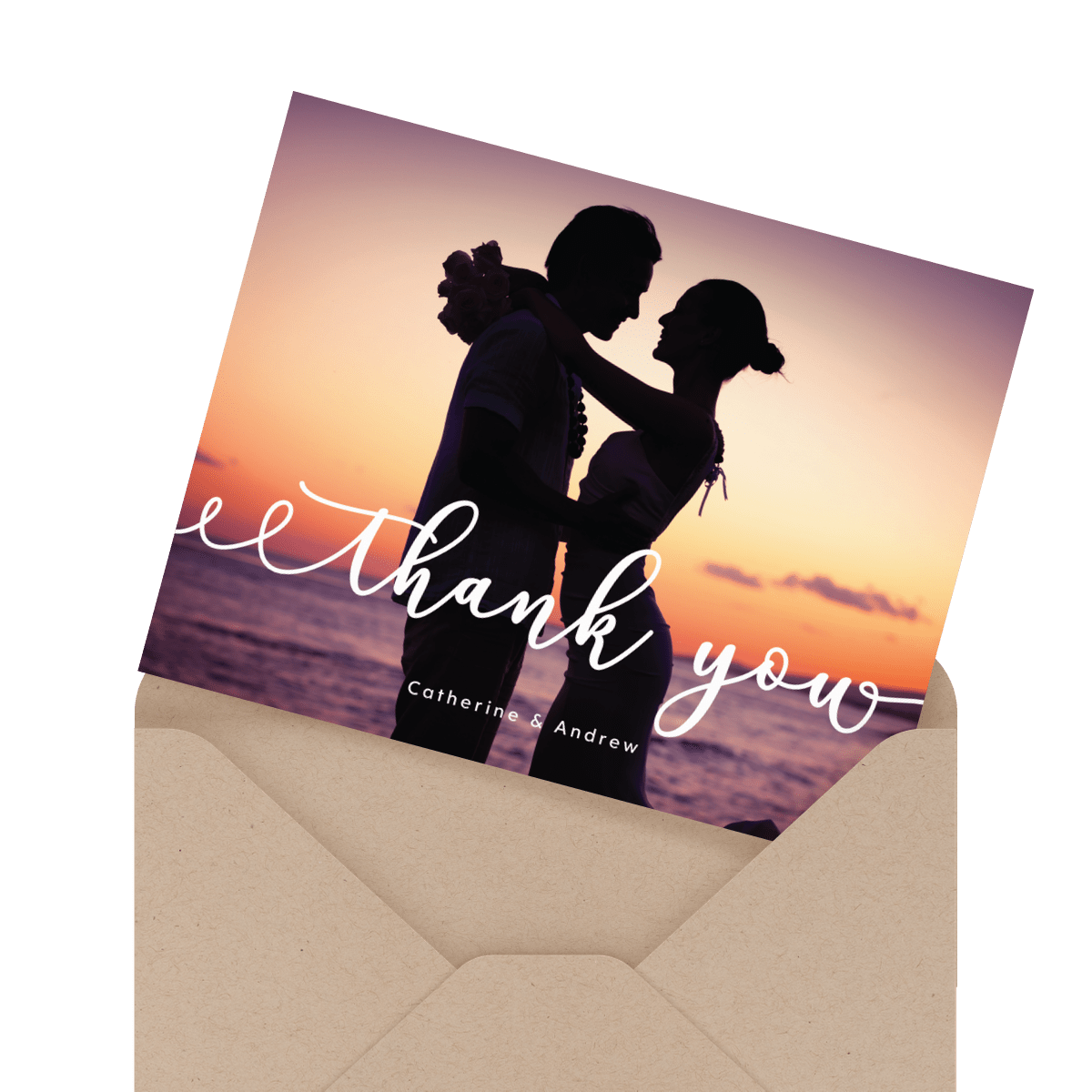Custom gorgeous thank you card in envelope