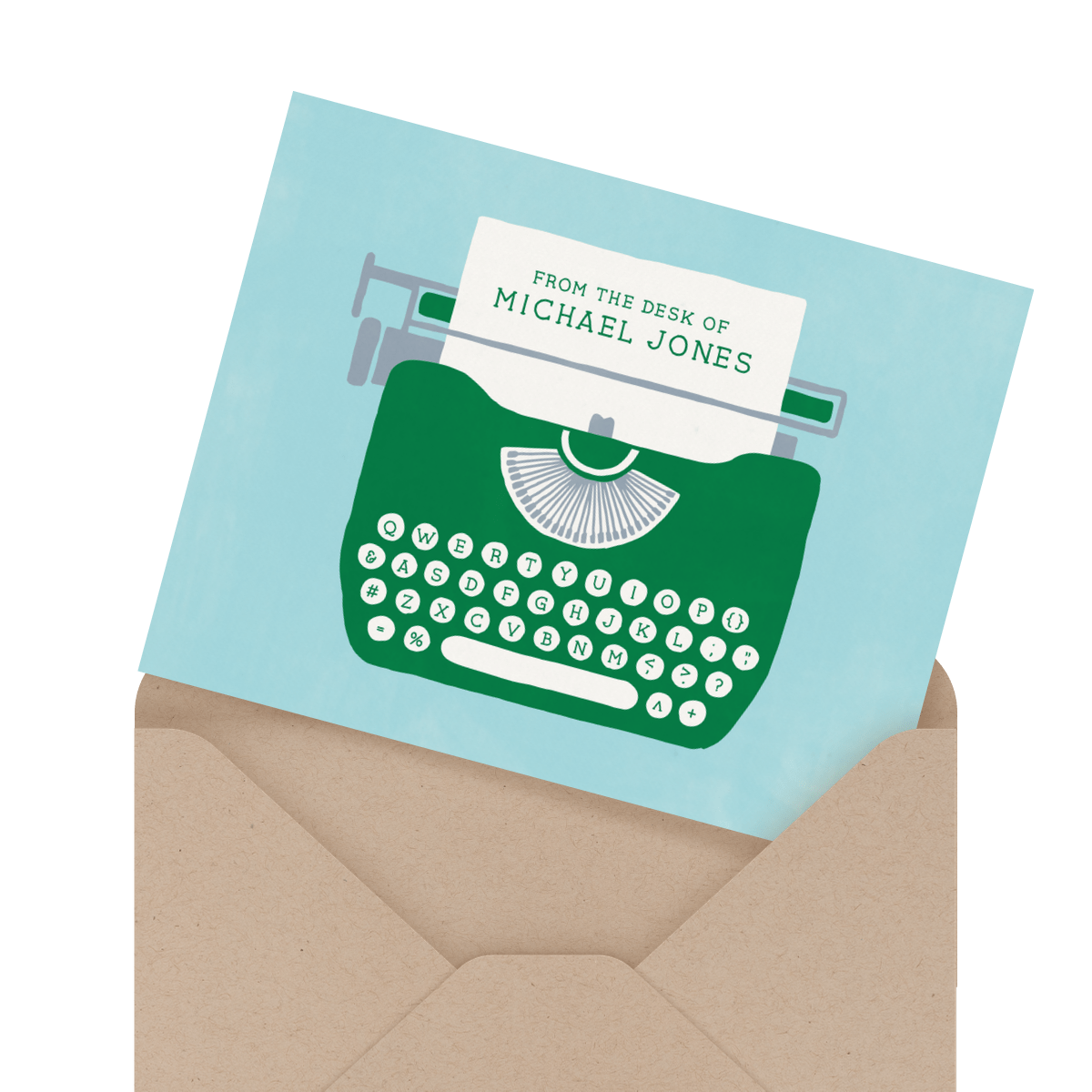 typewriter personalized stationery card