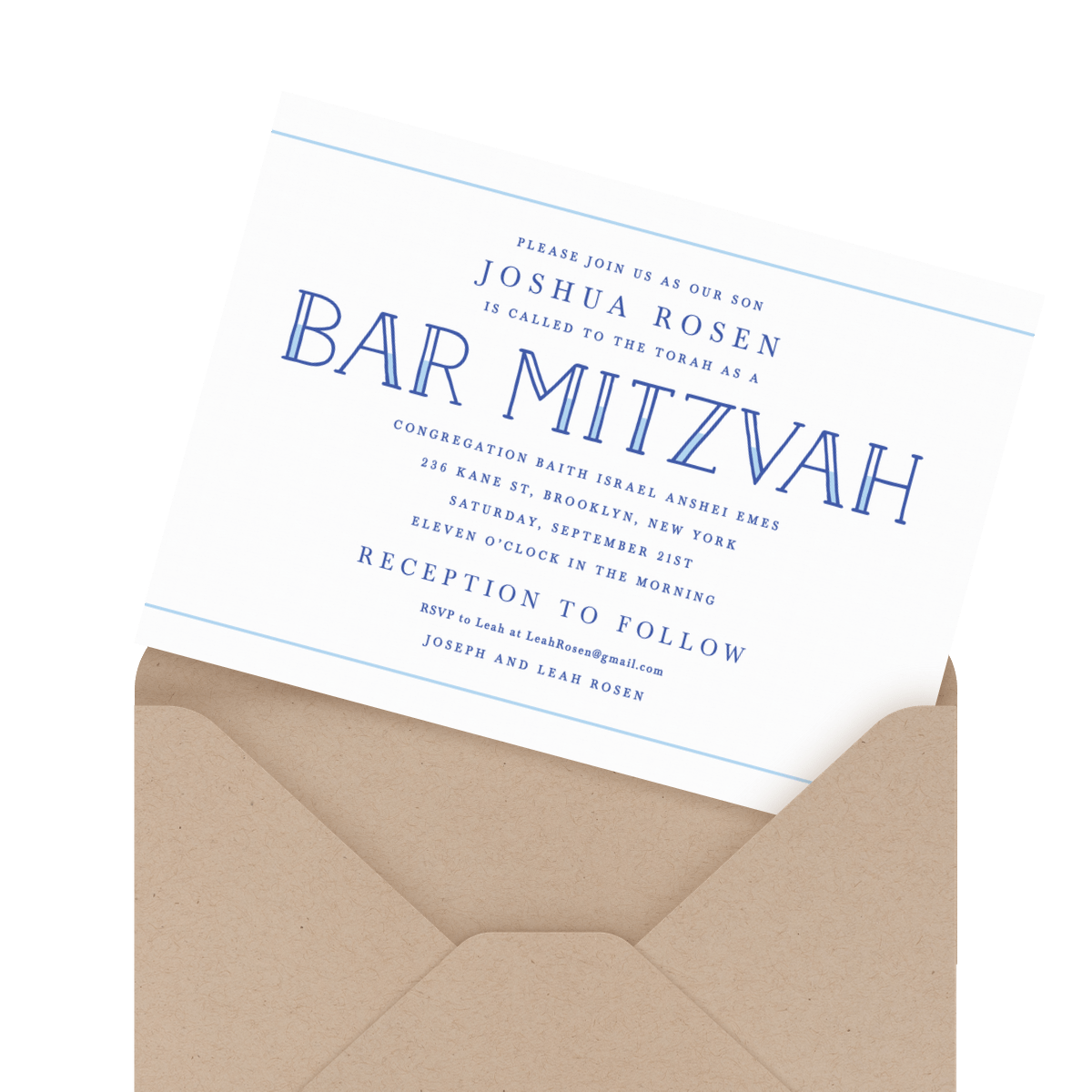 blue and white bar mitzvah invite
