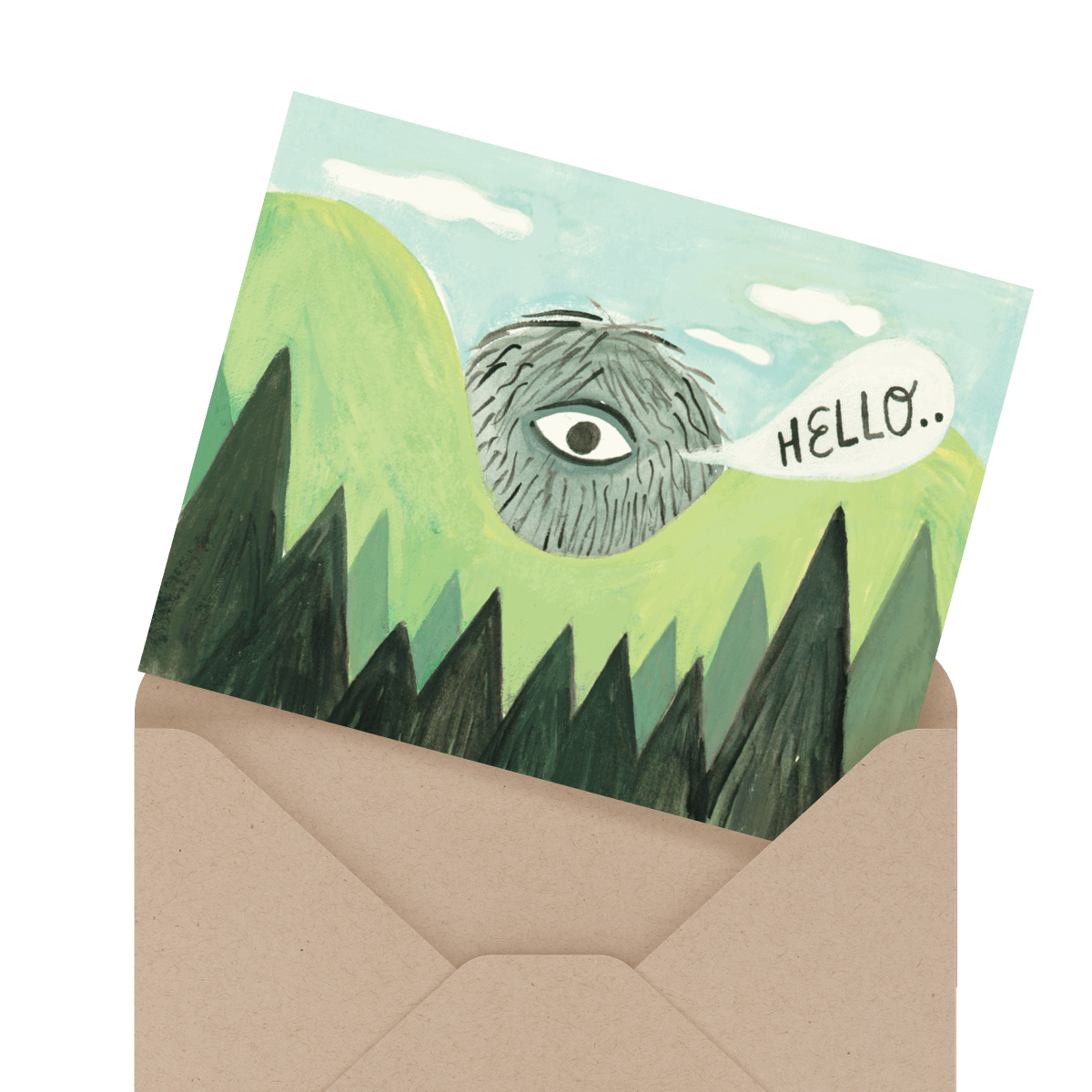 painted hello greeting card