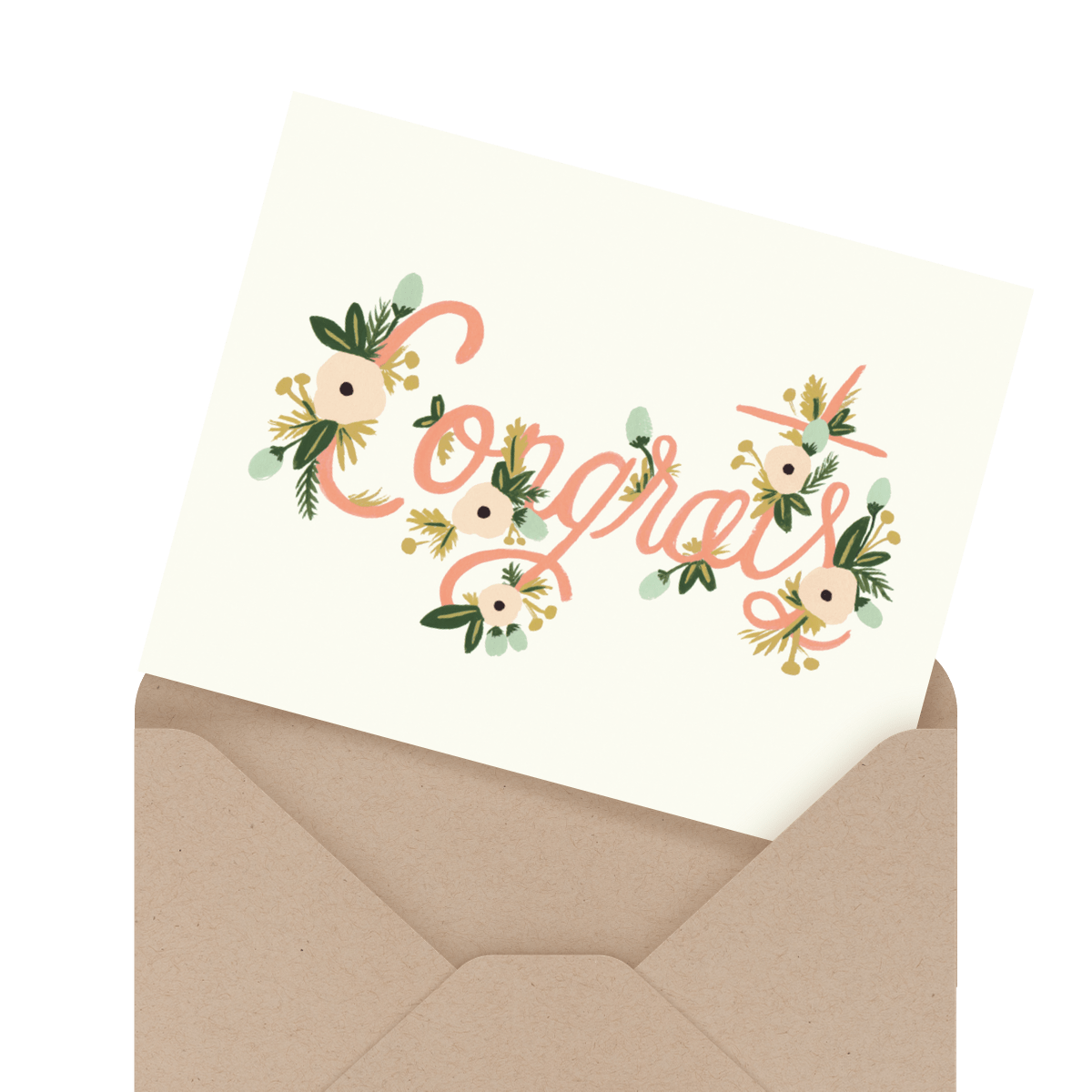 hand painted best wishes wedding congratulations card