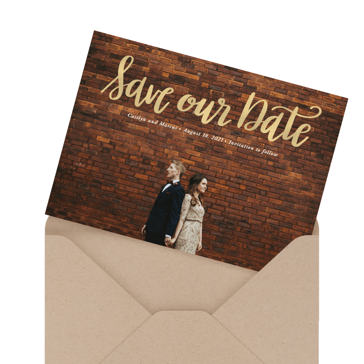 modern custom photo wedding card