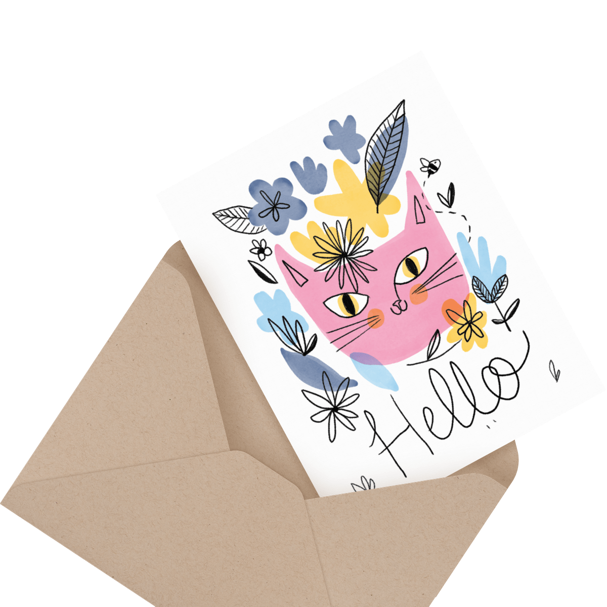 Red apple hello greeting card