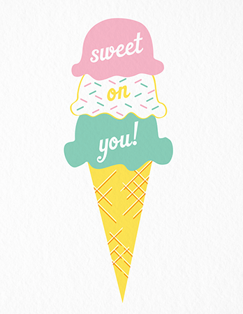 Summer Ice Cream Cone Love Card