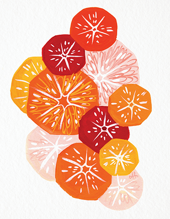 Hand Painted Citrus Art Card