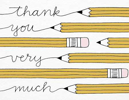 Pencils Written Thank You Card