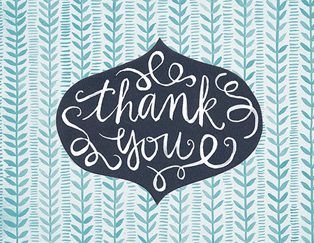Flourish Blue Vines Thank You Card