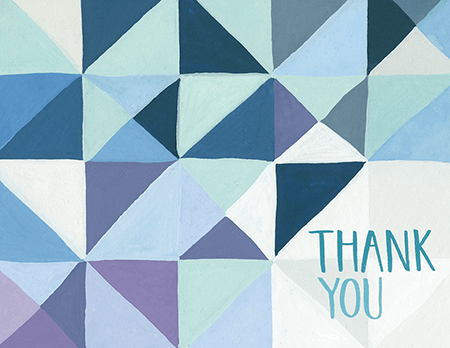 Geometric Blue Thank You Card