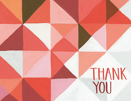 Red Triangular Thank You Card