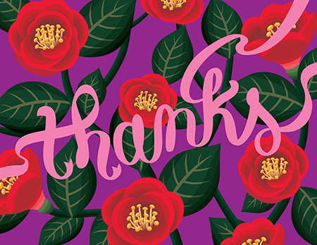 Red Sophisticated Thank You Card