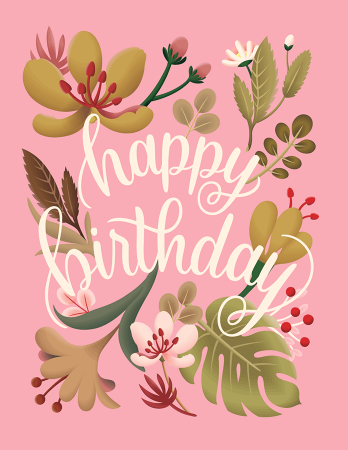 Birthday cards mailed for you postable pink botanical birthday bookmarktalkfo Gallery