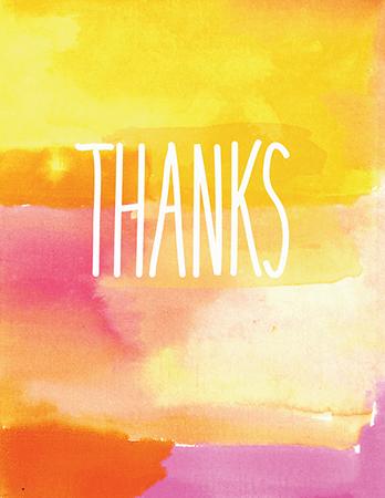 Watercolor Thanks Greeting Card