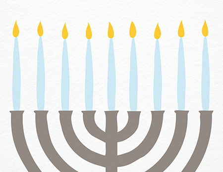 Painted Menorah Happy Hanukkah Card