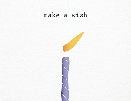 Make A Wish Purple Candle birthday card