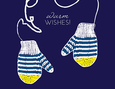 Warm Wishes Mittens Holiday Card