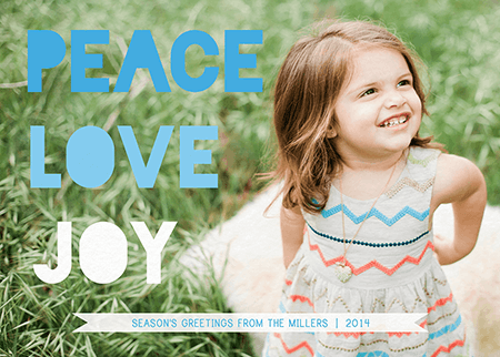 Peace Love Joy blue photo holiday card
