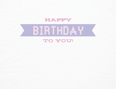 Simple Purple Ribbon Birthday Card
