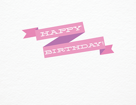 Pink Happy Birthday Ribbon Card