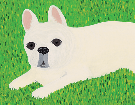 Hand Painted French Bulldog Art Card