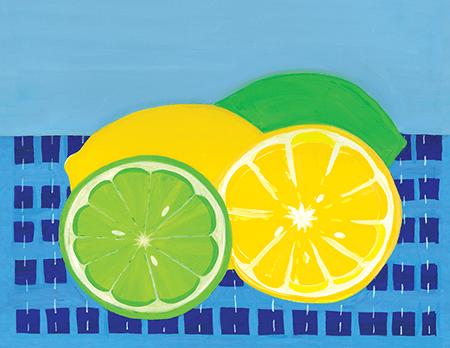 Green Lemon Lime painted art card