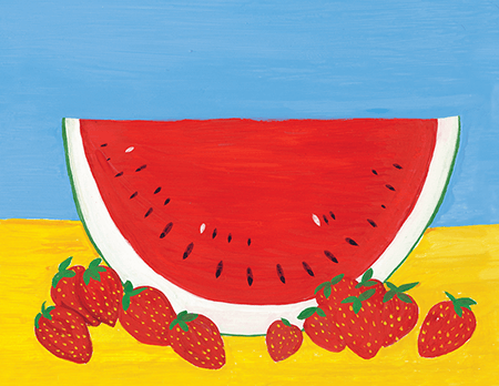Hand painted Watermelon Art Card