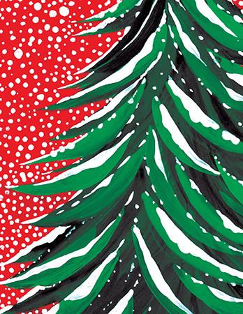 Hand Painted Christmas Tree Christmas Card