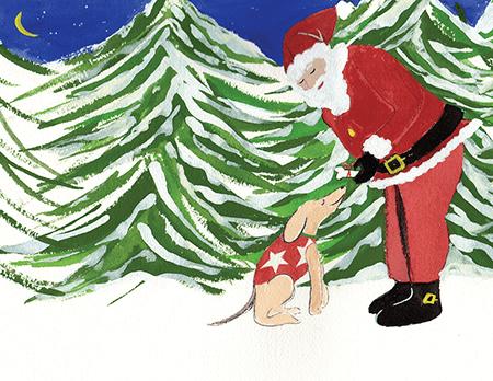 painted vintage Santa and Dog holiday card