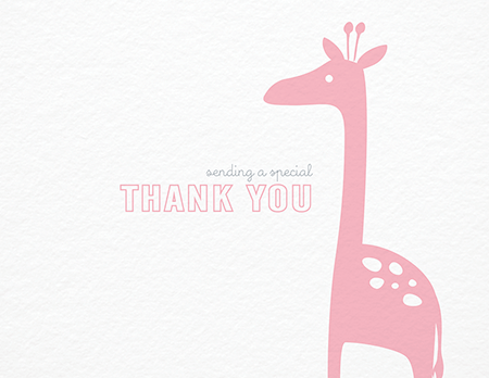 Pink Giraffe Thank  You card