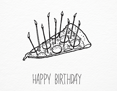 Quirky Pizza Doodle Birthday Card