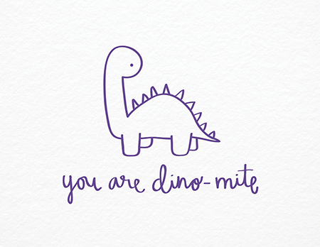 You\'re Dino Mite Pun I Love You Card