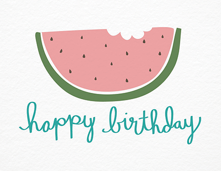Hand Drawn Watermelon Birthday Card