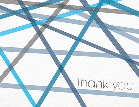 Blue Lines Bar & Bat Mitzvah thank you card