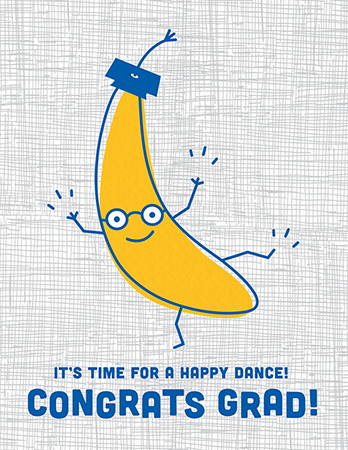 Dancing Banana Graduation Congratulations Card