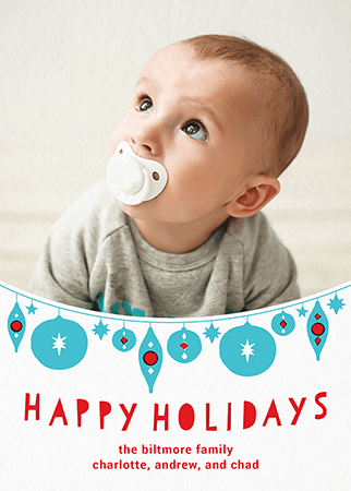 Cute Hanging Ornaments Custom Holiday Card