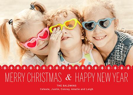 Red Scallops Custom Photo Merry Christmas Card