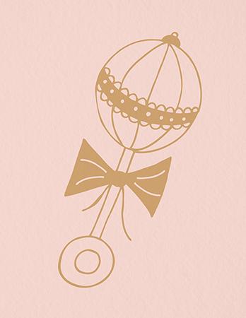 Feminine Baby Rattle Thank You Card