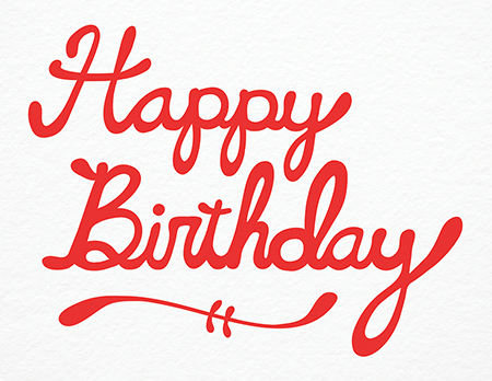 Red Cursive Happy Birthday Card