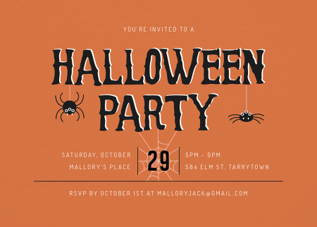 orange halloween party invite