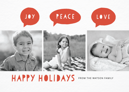 red joy peace love holiday card