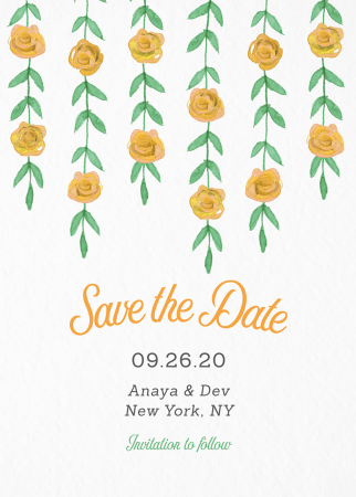 Yellow Garland Save The Date