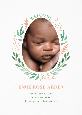 Easter Wreath Birth Announcement