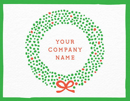 Dotted Holiday Wreath Company Card