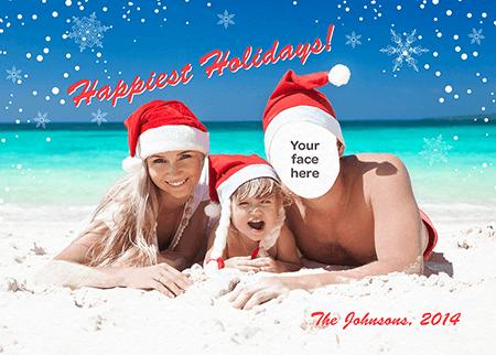 Beach Family Singles Holiday Card