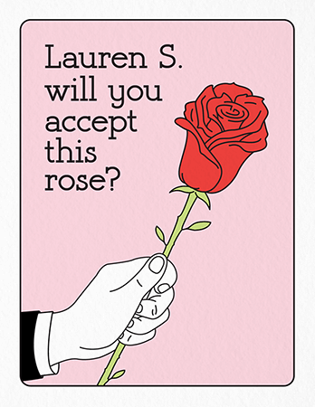 Custom Bachelor Rose Valentine\'s Card