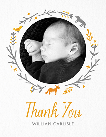 Script Woodland Thank You Card