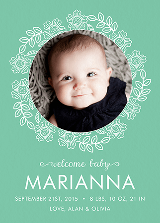 Rose Wreath Baby Announcement