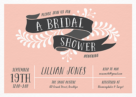pink chic custom bridal shower invite