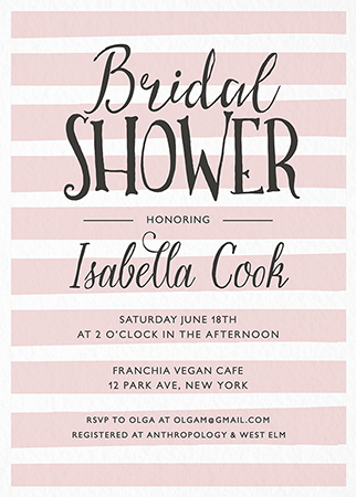 Bridal shower invites mailed for you postable simple stripes bridal shower invites filmwisefo
